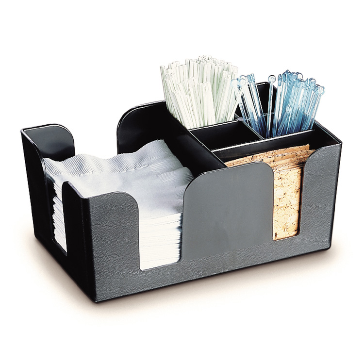Carlisle BC0503 Bar Caddy, Black, Dispense Napkins, Straws, Stirrers, 6 Compartment