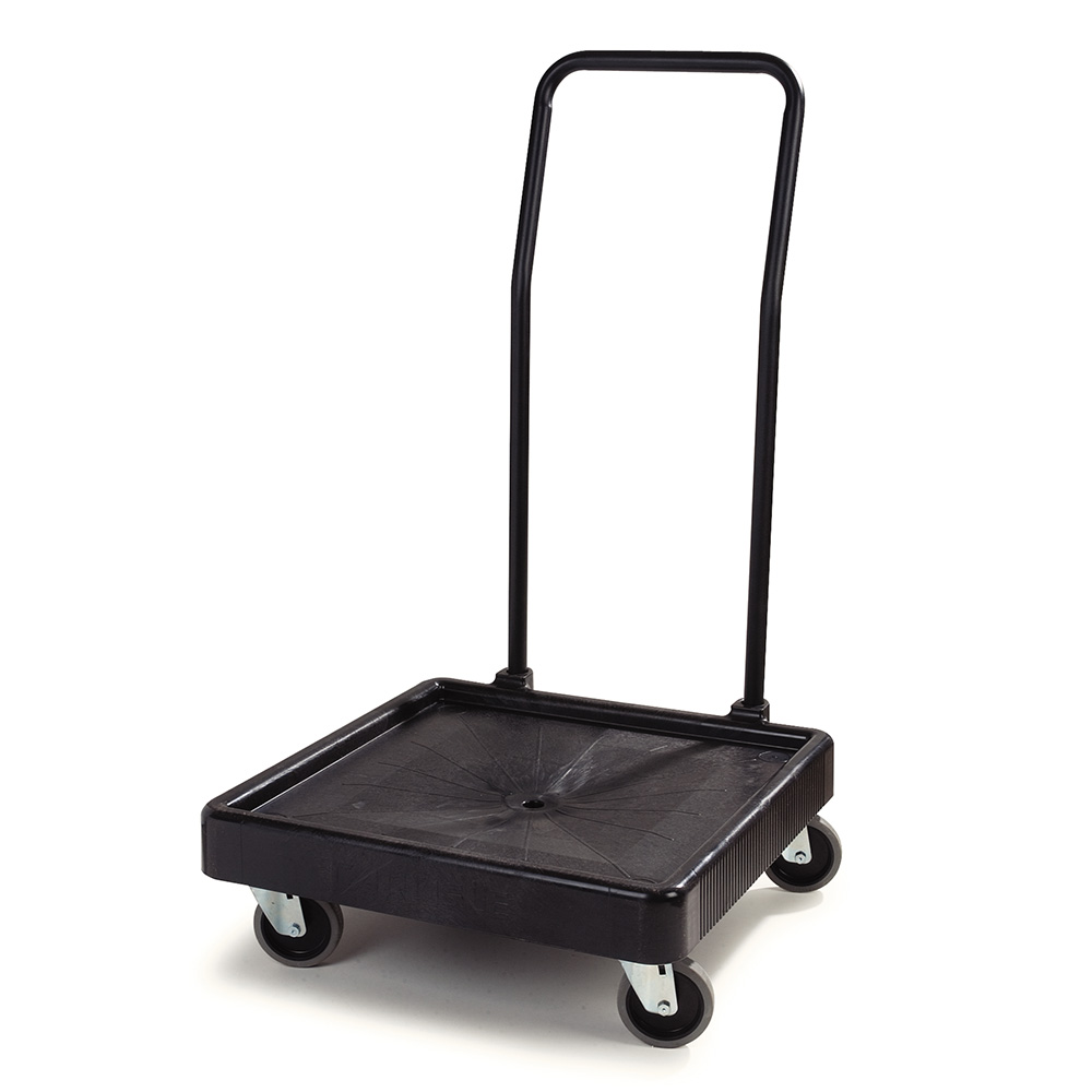 Carlisle C2236H03 Glass Rack Dolly - 350-lb Capacity, Push Handle, Polypropylene, Black