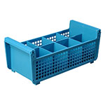 Carlisle C32P114 Flatware Basket w/ (8) Compartments, Open Design, Polypropylene, Blue