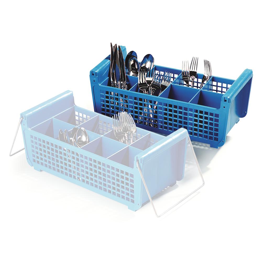 Carlisle C32P114 Flatware Basket w/ (8) Compartments, Open Design, Polypropylene, Blue