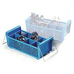 Carlisle C32P214 Flatware Basket - (8)Compartments, Wire Handles, Polypropylene, Blue
