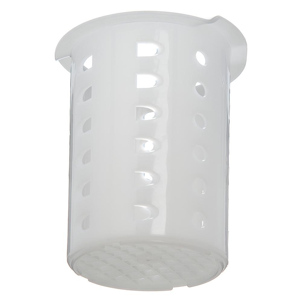 "Carlisle C35P02 3.6875"" Flatware Cylinder w/ Mesh Bottom, Polypropylene, White"