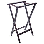 "Carlisle C3620W11 Folding Tray Stand - 20"" x 18"" x 30"", (2) Black Straps, Walnut"