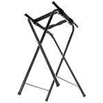 "Carlisle C362503 Folding Tray Stand - 19.25"" x 15"" x 31.5"", (2) Black Straps, Chrome/Black"