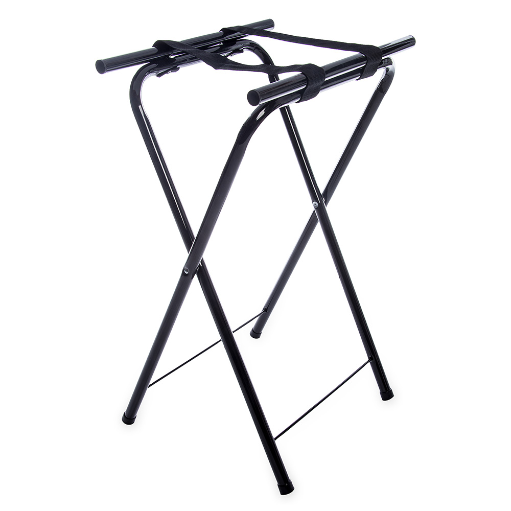 "Carlisle C362503 Folding Tray Stand - 19-1/4x15x31-1/2""(2)Black Straps, Chrome/Black"