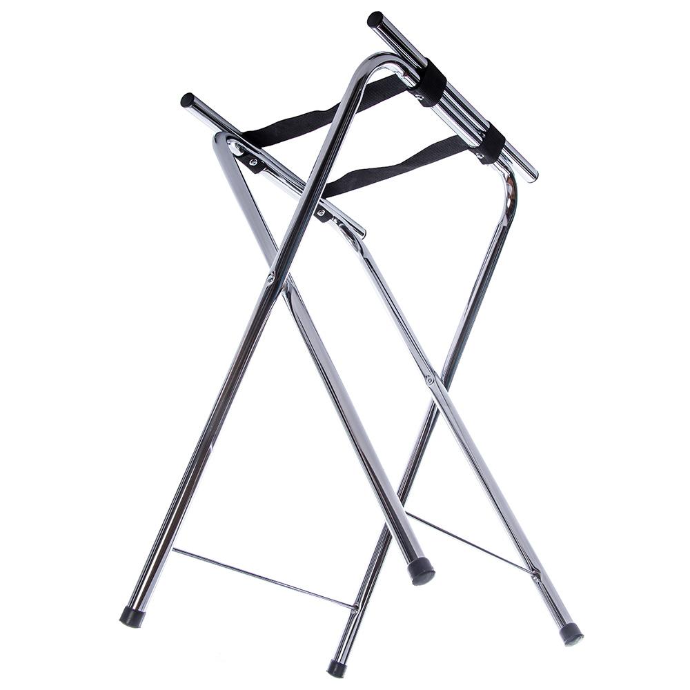 "Carlisle C362538 Folding Tray Stand - 19.25"" x 15"" x 31.5"", (2) Black Straps, Chrome"