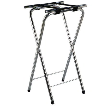 "Carlisle C3625T38 Folding Tray Stand - 19"" x 16"" x 36"", (2) Black Straps, Chrome"