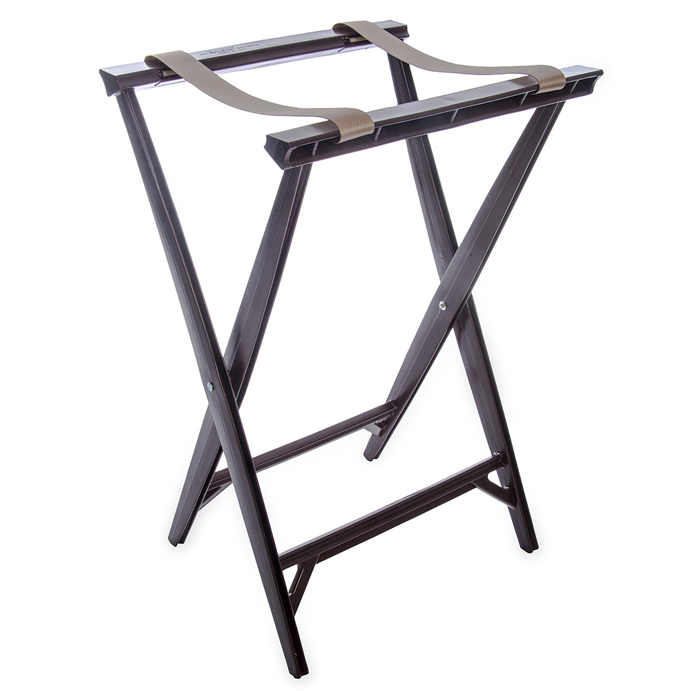 "Carlisle C3630W11 Folding Tray Stand - 19-3/4x16-6/9x30-1/2"" (2)Black Straps, Walnut"