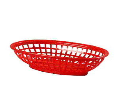 Carlisle 036605 Oval Lunch Basket, High Density Polyethylene, Red