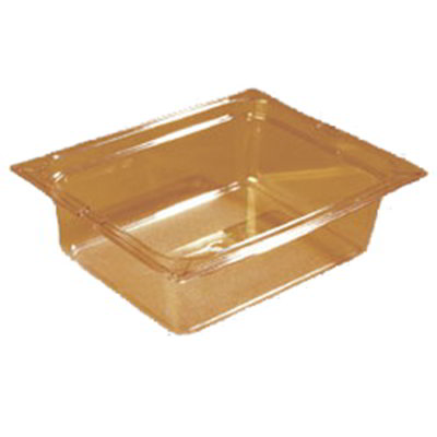 "Carlisle 10421-813 High Heat Half Size Food Pan - 4""D, (3/Pk) Amber"