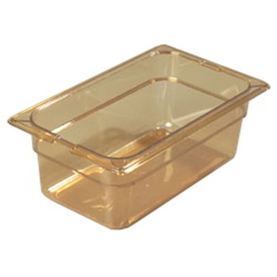 "Carlisle 10481-813 High Heat 1/4 Size Food Pan - 4""D, (3/Pk) Amber"