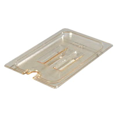 Carlisle 10491U13 Universal 1/4 Size High Heat Food Pan Notched Lid - Amber