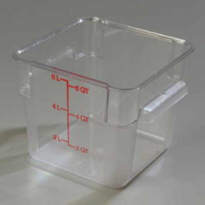 Carlisle 1072207 6-qt Square Food Storage Container - Clear