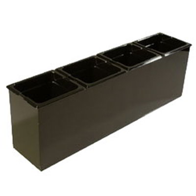 "Carlisle 1080603 Condiment Food Station - (4)1/6 Size Food Pans, 25-1/4x6-1/2x8-3/4"" Black"