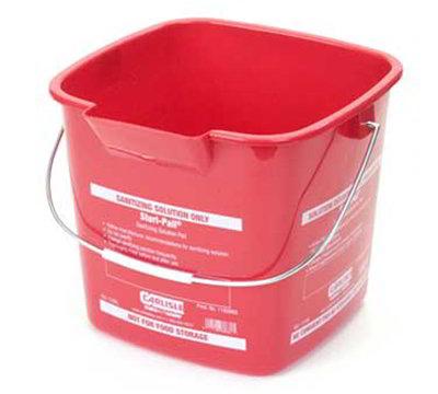 Carlisle 1182905 6-qt Square Sanitizing Pail - Red