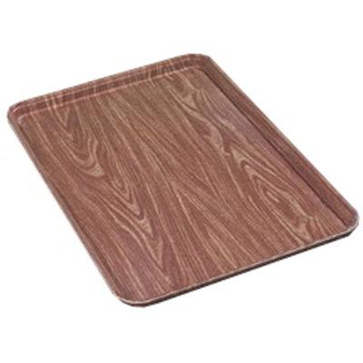 "Carlisle 1318WFG063 Rectangular Display/Bakery Tray - 12-3/4x17-3/4x1"" Pecan Woodgrain"