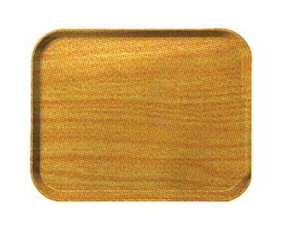 Carlisle 1419WFG065 Rectangular Cafeteria Tray - 38.5x50cm, Light Oak Woodgrain