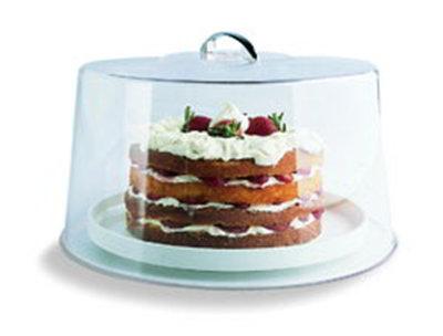 "Carlisle 251207 11-5/8"" Round Cake Cover - Chrome/Clear"