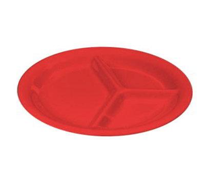 "Carlisle 3300005 10-1/2"" Sierrus Plate - 3-Compartment, Melamine, Red"