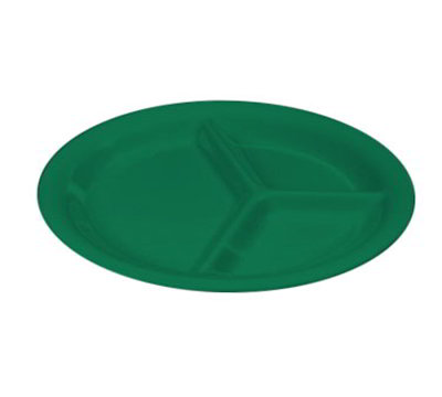"Carlisle 3300009 10-1/2"" Sierrus Plate - 3-Compartment, Melamine, Meadow Green"