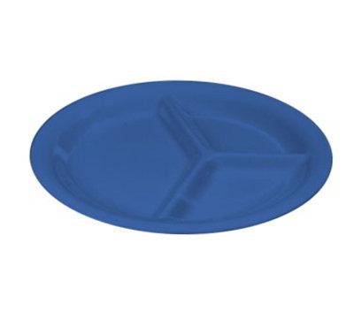"Carlisle 3300014 10-1/2"" Sierrus Plate - 3-Compartment, Melamine, Ocean Blue"