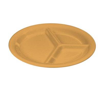 "Carlisle 3300022 10-1/2"" Sierrus Plate - 3-Compartment, Melamine, Honey Yellow"
