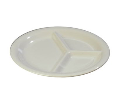 "Carlisle 3300042 10-1/2"" Sierrus Plate - 3-Compartment, Melamine, Bone"