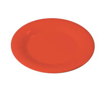 "Carlisle 3301652 7-1/4"" Sierrus Salad Plate - Wide Rim, Melamine, Sunset Orange"