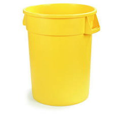 Carlisle 34105504 55-gal Round Waste Container - Handles, Polyethylene, Yellow