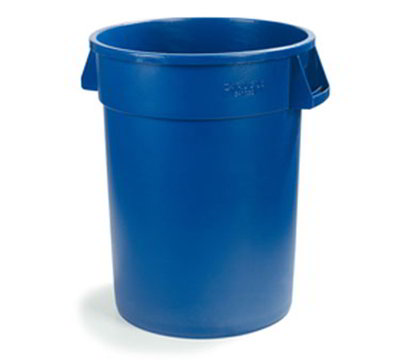 Carlisle 34105514 55-gal Round Waste Container - Handles, Polyethylene, Blue