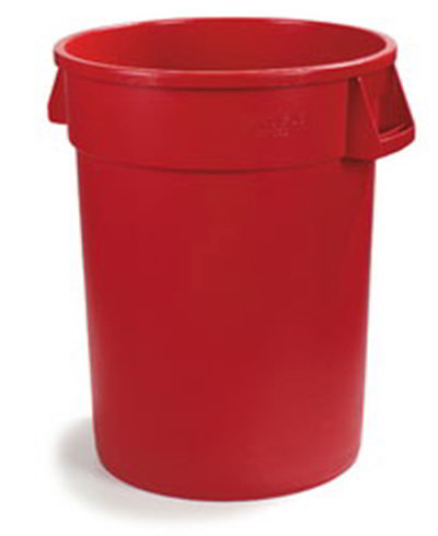 Carlisle 34103205 32-gal Round Waste Container - Handles, Polyethylene, Red