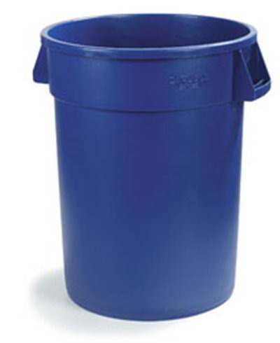 Carlisle 34103214 32-gal Round Waste Container - Handles, Polyethylene, Blue