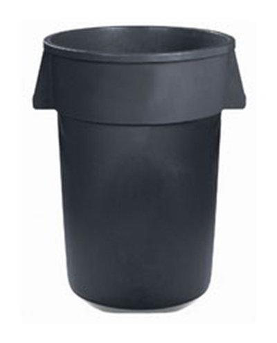 Carlisle 34103223 32-gal Round Waste Container - Handles, Polyethylene, Gray