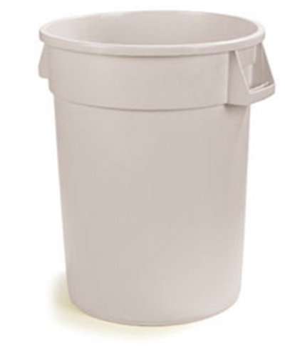Carlisle 34104402 44-gal Round Waste Container - Handles, Polyethylene, White