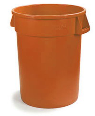 Carlisle 341044-24 44-gal Round Waste Container - Handles, Polyethylene, Orange