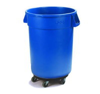 Carlisle 34113214 32-Gallon Round Waste Container w/ Dolly, Blue