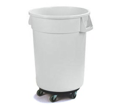 Carlisle 34114402 44-gal Round Waste Container with Dolly - Handles, Polyethylene, White