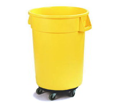 Carlisle 34113204 32-gal Round Waste Container with Dolly - Handles, Polyethylene, Yellow