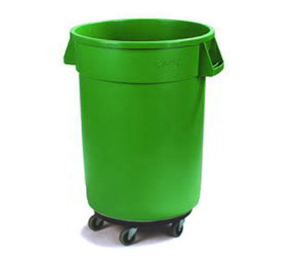 Carlisle 34114409 44-gal Round Waste Container with Dolly - Handles, Polyethylene, Green