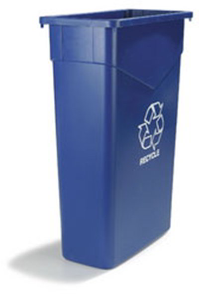 Carlisle 342023REC14 23-gal Rectangular Recycle/Waste Container - Polyethylene, Blue