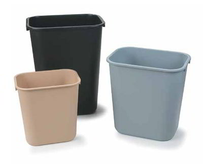 Carlisle 34292823 28-qt Office Wastebasket - Polypropylene, Gray