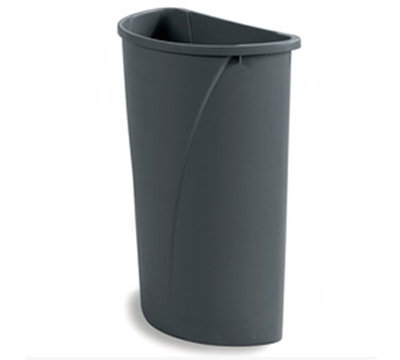 Carlisle 343021-23 21-gal Half-Round Waste Container - Handles, Polyethylene, Gray
