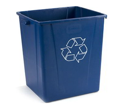 Carlisle 343950REC-14 50-gal Square Recycle Container - Polyethylene, Blue