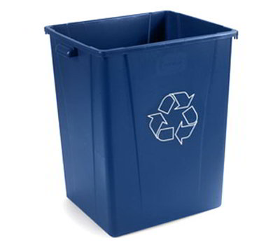 Carlisle 344056REC-14 56-gal Square Recycle Waste Container - Polyethylene, Blue