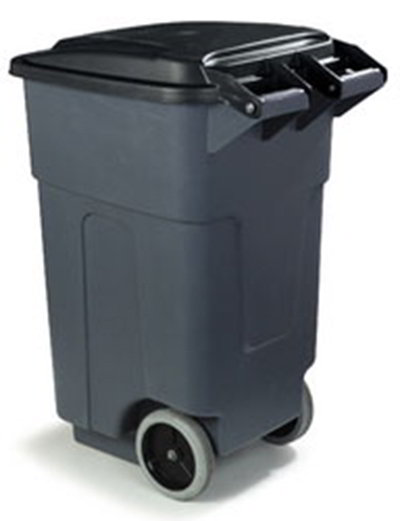 Carlisle 34505023 50-gal Square Roll-Away Waste Container - Polyethylene, Gray