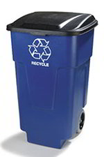 Carlisle 345050REC14 50-gal Roll-Away Square Recycle Container - Polyethylene, Blue