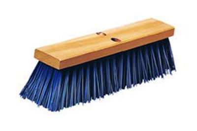 "Carlisle 3611401814 18"" Street Sweep - Heavy, Hardwood Block, 5-1/8"" Blue Poly Bristles"