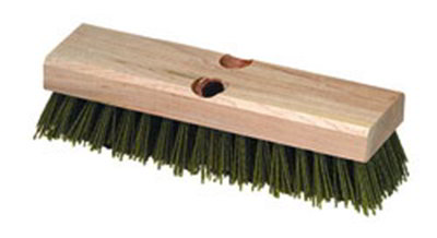 "Carlisle 3619100 10"" Baseboard Scrub Brush - Nylon/Hardwood, Black"