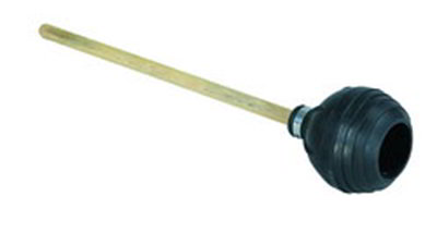 "Carlisle 36439100 20"" Toilet Plunger - Force Cup Suction, Wood Handle, Black"