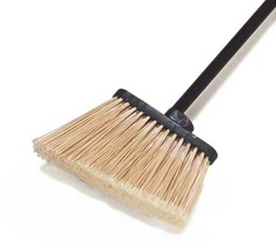 "Carlisle 3686100 30"" Lobby Angle Broom - Black Metal Handle, Polypropylene Bristles"